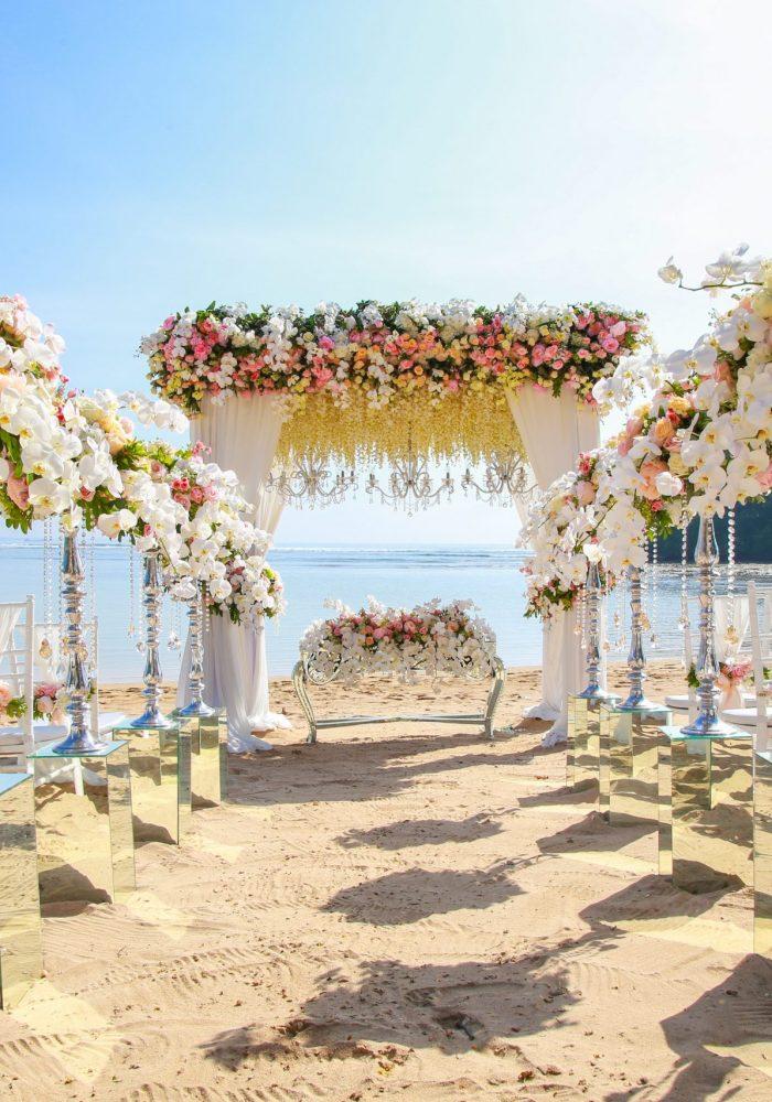 Wedding set up on beach. Beautiful tropical outdoor wedding party on beach
